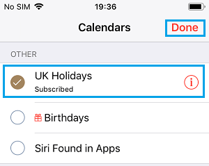 Show UK Holidays on iPhone Calendar