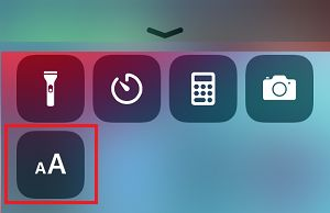 Text Size Settings Option On iPhone Control Center