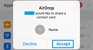 Accept AirDrop Request on iPhone