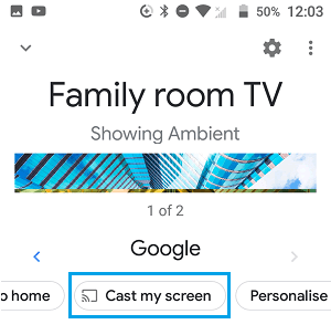 Cast My Screen Option in Google Home App