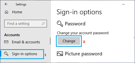 Change Password Option in Windows