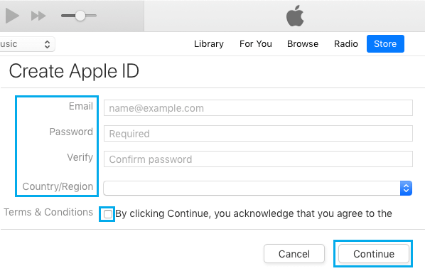 Create Apple ID on iTunes