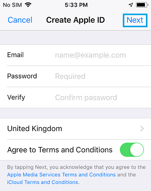 Create Apple ID Screen on iPhone