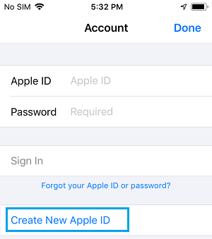 Create New Apple ID Link