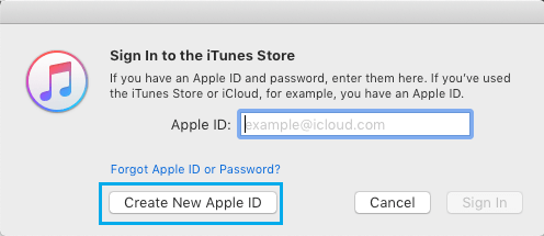 Create New Apple ID option on iTunes