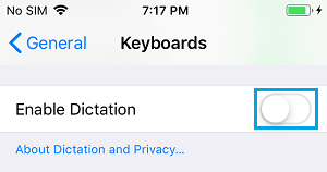 Disable Dictation Option on iPhone Keyboard