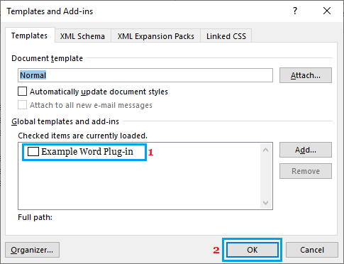 Disable Microsoft Word Add-ins
