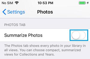 Disable Summarize Photos Option on iPhone