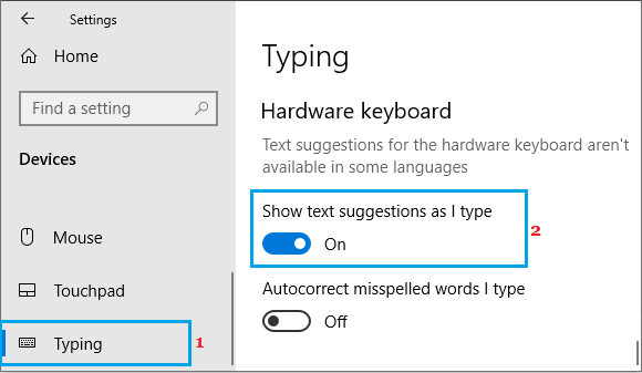 Enable Show Text Suggestions Option in Windows