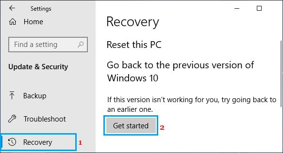 Go Back to Previous Windows Version Option