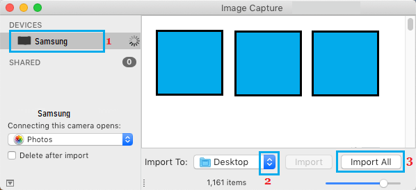 Import All Photos From Android to Mac Using Image Capture
