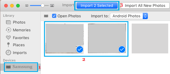 Import Selected Photos From Android Phone to Mac