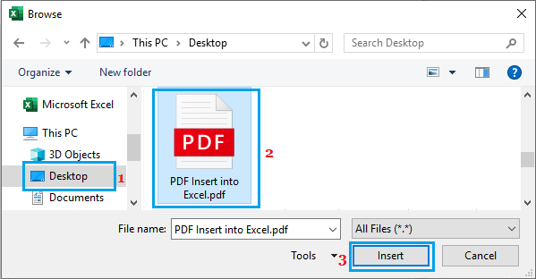 Select PDF File to Insert into Excel