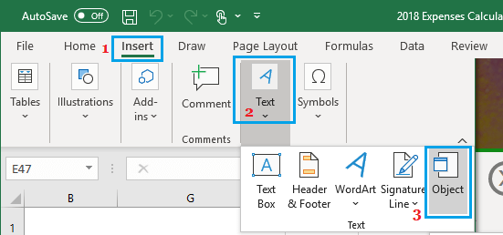 Insert Textual Object Option in Excel
