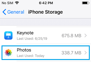 Photos in iPhone Storage