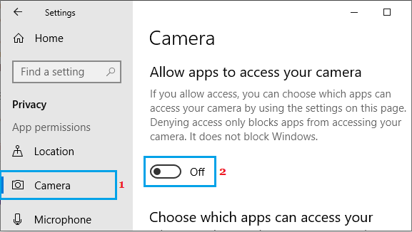 Prevent All Apps From Accessing Camera in Windows