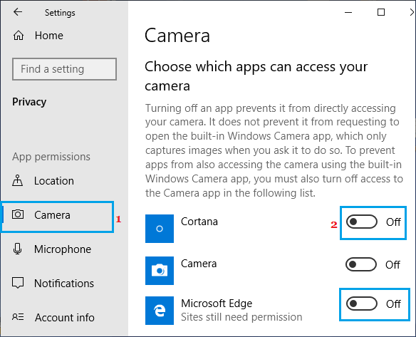 Prevent Specific Apps From Accessing Camera in Windows