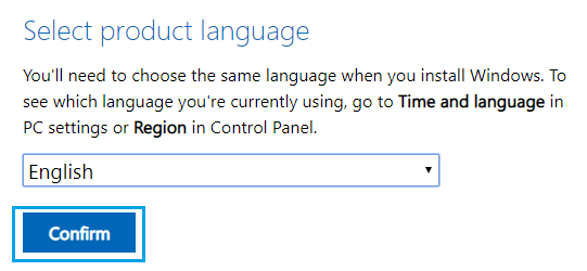 Select Windows ISO Language