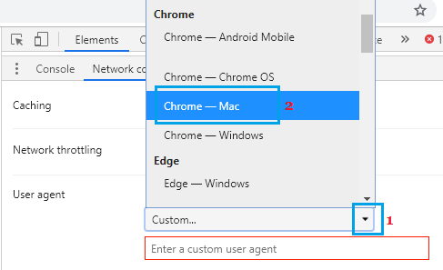 Select User Agent in Chrome Browser