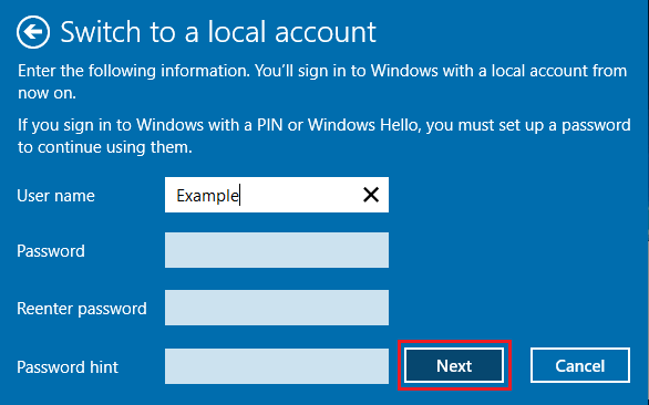 Setup Password on Windows Switch to Local Account Screen