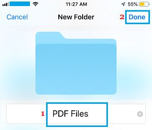 Create and Name New Folder on iPhone Files App