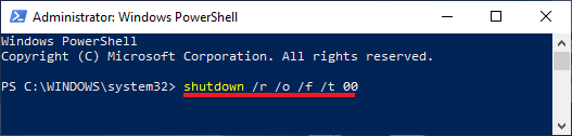 Open Windows Advanced Startup Options Using Command Prompt