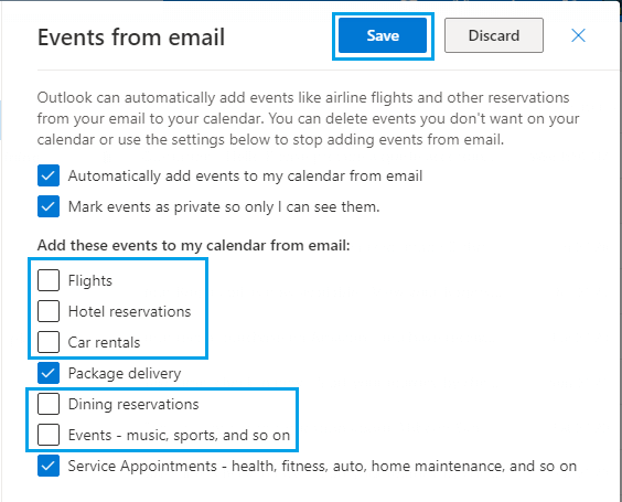 Allow Outlook to Add Selected Events to Calendar