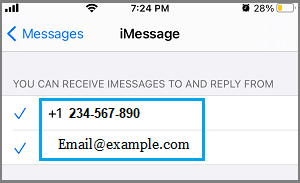 Receive iMessages at Apple ID and Phone Number