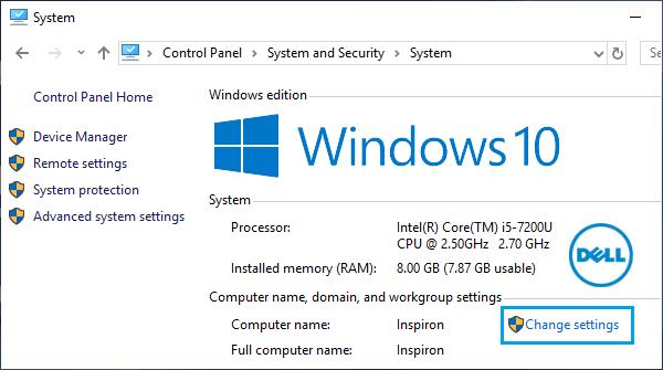 Change Computer Name Using Control Panel