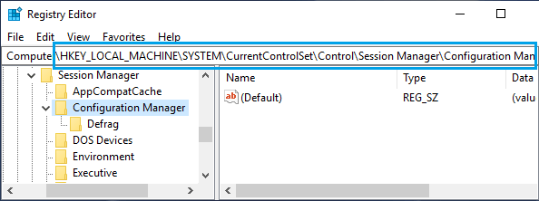 Windows Configuration Manager Registry Entry