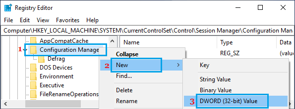 Open New DWORD in Configuration Manager Registry