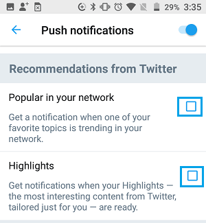 Disable Twitter Highlights and Popular in Your Network Notifications