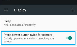 Enable Power Button Camera Shortcut on Android Phone