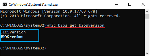 Check BIOS Version Using Command Prompt