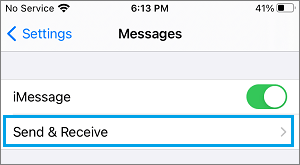Send and Receive Messages Option on iPhone
