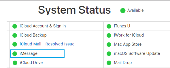 iMessage Status on Apple Service Status Page