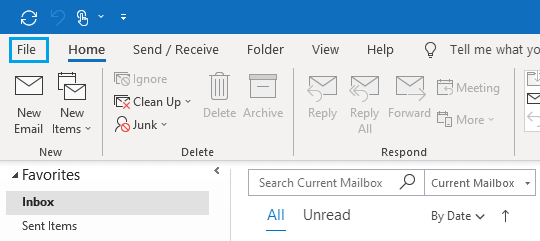 File Tab in Microsoft Outlook