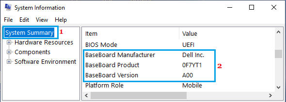 Motherboard Details on Windows System Information Screen