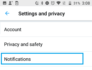 Twitter Notifications Setting Option