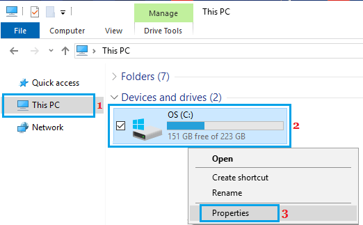 Open Hard Drive Properties