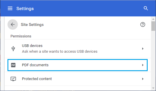PDF Documents Settings Option in Chrome