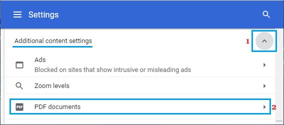 PDF Documents Settings Option in Chrome