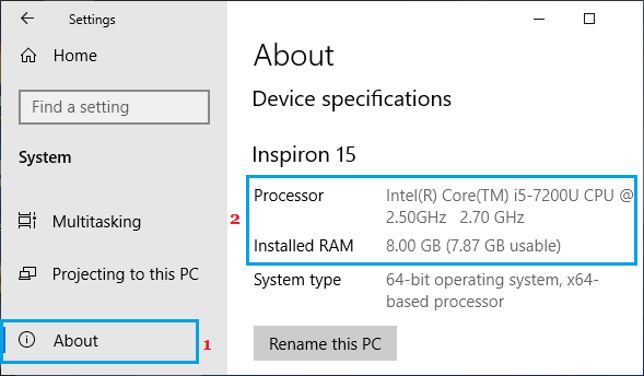 RAM Info on Windows Settings Screen
