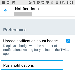 Twitter Push Notifications Setting Option