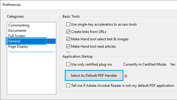 Select Default PDF Handler Option in Adobe Reader