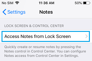 Access Notes from Lock Screen option on iPhone
