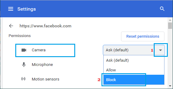 Block Camera Access in Chrome