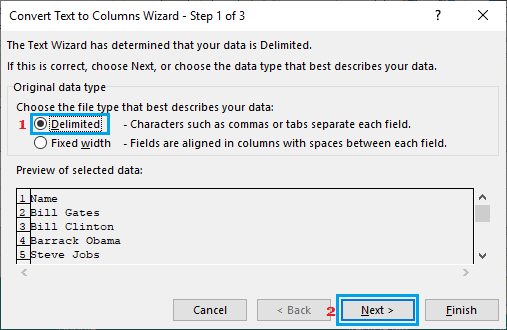 Select Data Type in Excel Text to Columns Wizard