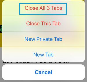 Close All Safari Tabs Pop-up on iPhone