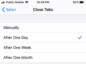 Close Safari Tabs After One Day on iPhone